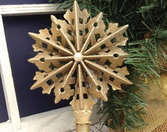 8 tall filigree punched snowflake tree topper shimmery gold snowflake mini tree christmas tree decor free shipping - Mini Christmas Tree Topper