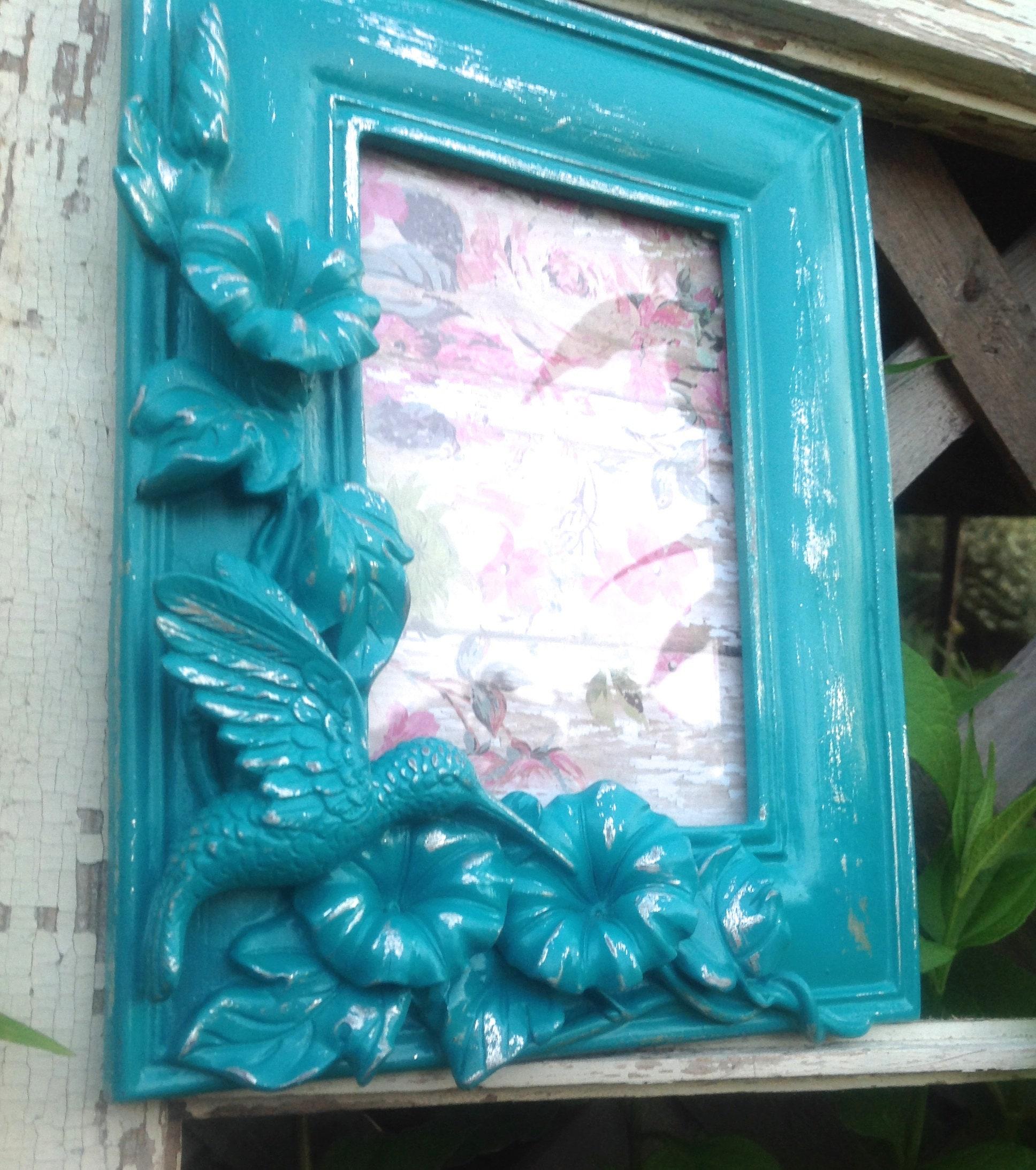 Colibrí 3D barroco cuadro marco 4 x 6 - turquesa adornado marco ...