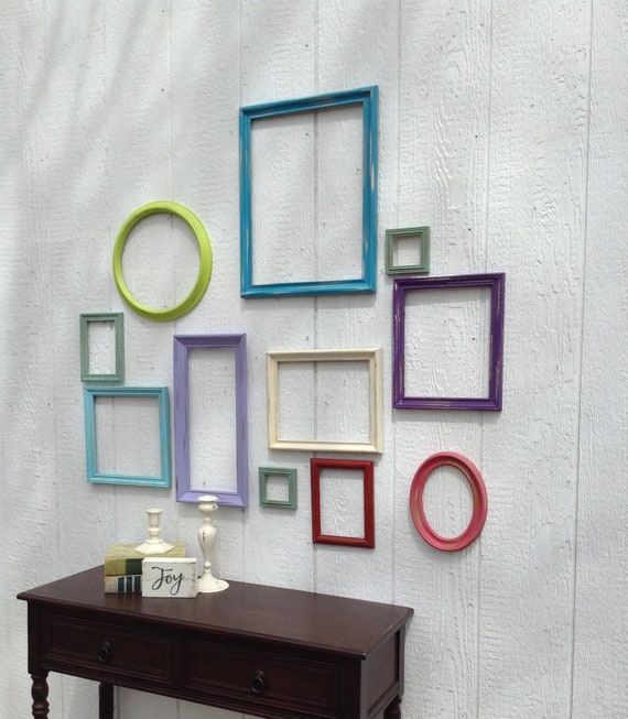Colorful Empty Frame Wall Grouping Set Of 11 Open Frames Etsy