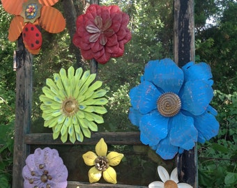 8 Pc Metal Flower Wall/Fence Art 'Summer Fling' - Metal Fence Decor - Metal Yard Art