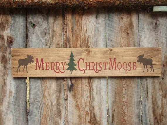 Rustic Home Decor Merry Christmoose Sign Moose Sign Decor ...