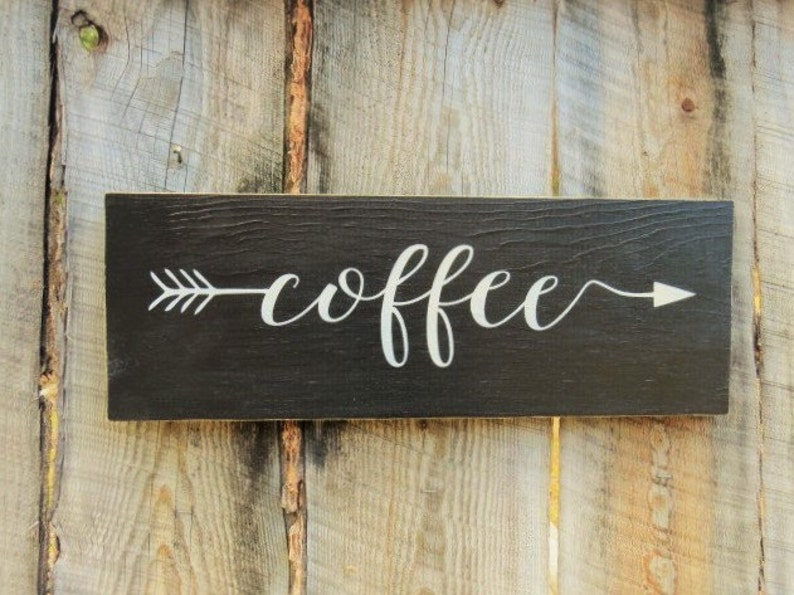 rustic home decor kitchen decor sign coffee sign coffee arrow | etsy