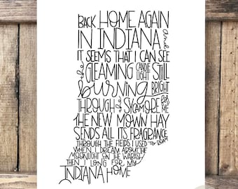 Back Home Again in Indiana Hand lettered Print