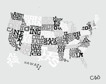 USA MAP - Grayscale - 8x10 11x14 16x20