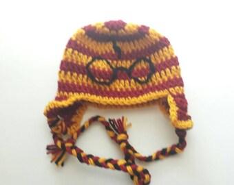 Harry Potter Hat Harry Potter Crochet Hat HP Hat Gryffindor Lightning  Bolt Glasses Harry Potter Red and Gold Gryffindor Colors photo prop 03148563bb1