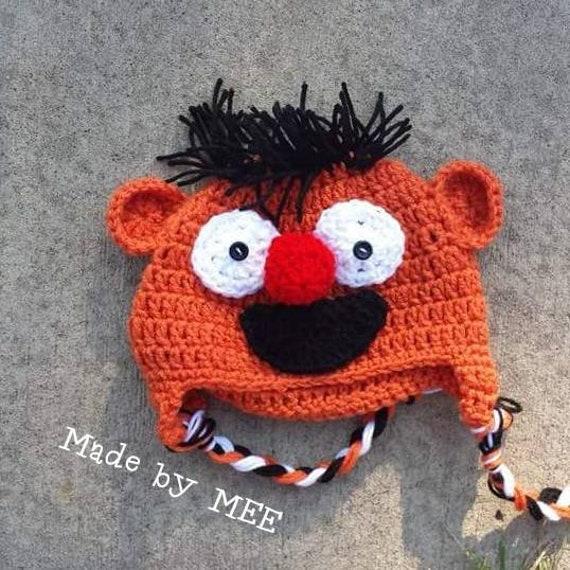 Ernie Hat, Sesame Street Hat, Bert and Ernie hat, Ernie costume, sesame street, muppet hat, crochet earflap hat, elmos world, Ernie beanie