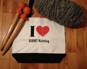 I Love GIANT Knitting Tote Bag by Go-Girl Knitting