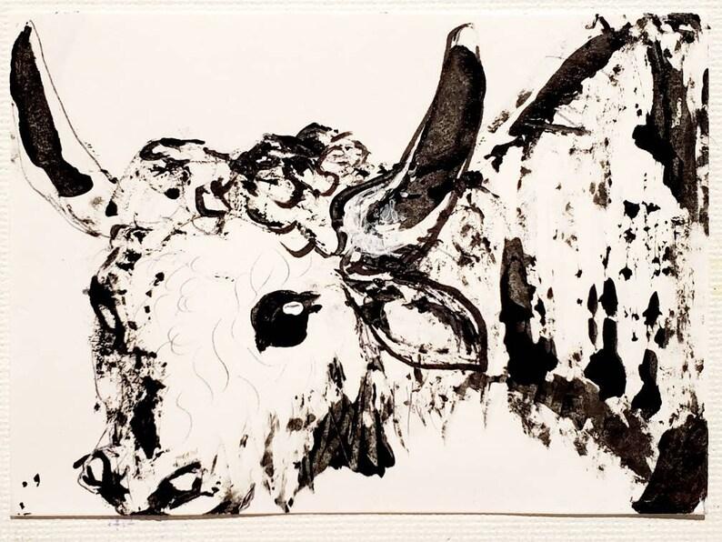 new aceo GRUNGE YAK 1 original art kimartist beef brut cattle cow folk grungy minimalism minimalist naive naif rough sketch vaca vache bw