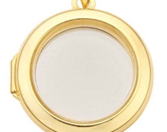 """14k yellow gold circle locket pendant with clear glass 1"""""""