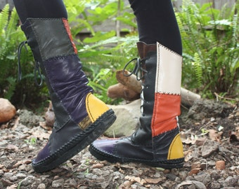 Leather  Boots patchwork (hand made)