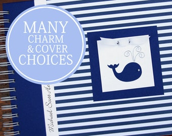 Whale Baby Book   Personalized   Nautical Baby Memory Book   Boy Baby Album Photo Book & Journal   Blue Stripes
