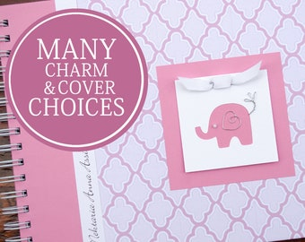 Baby Memory Book | Baby Girl Book | Baby Album Photo Book & Journal | Personalized Baby Book | Pink Lattice with Elephant | Circus | Safari