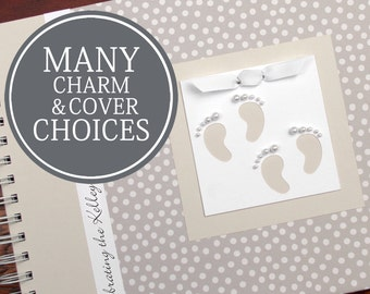 TWIN Baby Shower Guest Book | Guestbook | Personalized Baby Shower Book | Twins | Small Cream Polka Dots