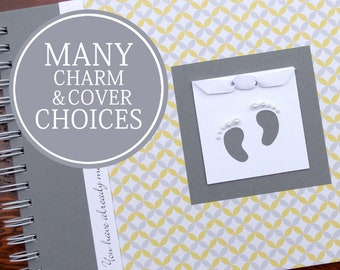 Pregnancy Journal Personalized | Maternity Gift | Pregnancy Gift | Pregnancy Album | Pregnancy Memory Book | Yellow & Gray Circles