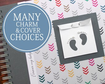 Pregnancy Album   Pregnancy Gift   Pregnancy Book   Personalized Pregnancy Memory Book   Arrows with Baby Footprints Charm