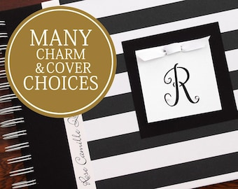 Baby Memory Book Gender Neutral | Boy | Girl | Baby's First Year Album Photo Book & Journal | Personalized | Wide Black and White Stripes