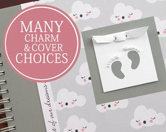 Pregnancy Journal Album   Pregnancy Gift    Pregnancy Book   Pregnancy Album   Dreaming Clouds with Baby Footprints Charm   Charmbooks
