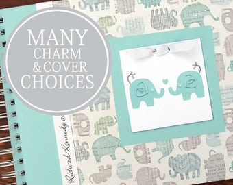 TWIN Baby Book | Twin Baby Album & Photo Book | Pregnancy Gift for Twins | Twin Elephants | Charmbooks
