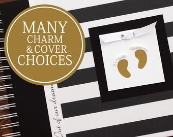 Pregnancy Journal Album | Pregnancy Gift |  Pregnancy Book | Wide Black & White Stripes with Gold Baby Footprints | Gender Neutral