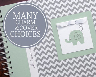 Baby Memory Book Gender Neutral   Boy   Girl   Baby's First Year Album Photo Book & Journal   Gray Chevron + Mint Green with Elephant Charm