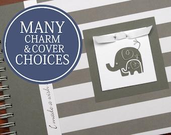 Pregnancy Album   Pregnancy Gift   Pregnancy Book   Pregnancy Planner   Personalized Pregnancy Memory Book   Wide Gray Stripes & Elephants