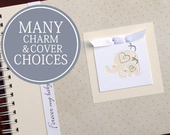 Pregnancy Journal Album   Pregnancy Gift    Pregnancy Book   Gender Neutral   Personalized   Gold Dots with Mama & Baby Elephant Charm