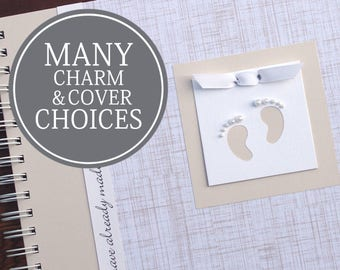 Personalized Pregnancy Journal   Pregnancy Gift   Pregnancy Memory Book   Gender Neutral   Personalized   Linen with Baby Footprints Charm