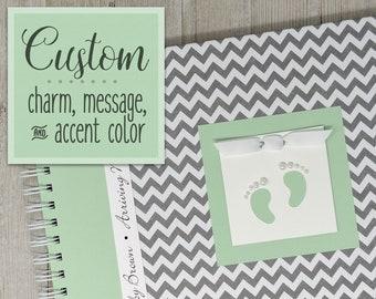 Pregnancy Journal   Gender Neutral   Pregnancy Gift   Pregnancy Book   Gray Chevron + Green