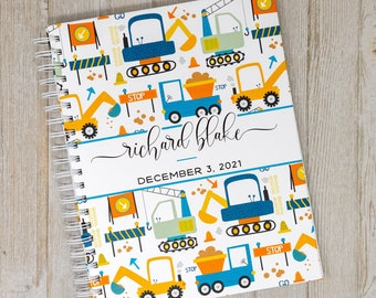 Construction Baby Memory Book - First Year Baby Book & Journal - Personalized Baby Album - Haulers, Dump Truck, Digger - Construction