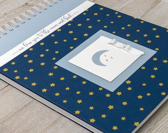 Pregnancy Journal (15 Center Designs) - Memory Book for Expectant Moms - Personalized Pregnancy Album - New Mother Gift - Gold Stars