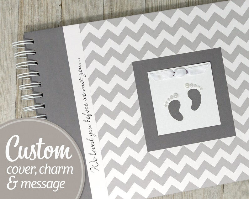 Baby Journal  Personalized Baby Keepsake Book  Gray Chevron image 0
