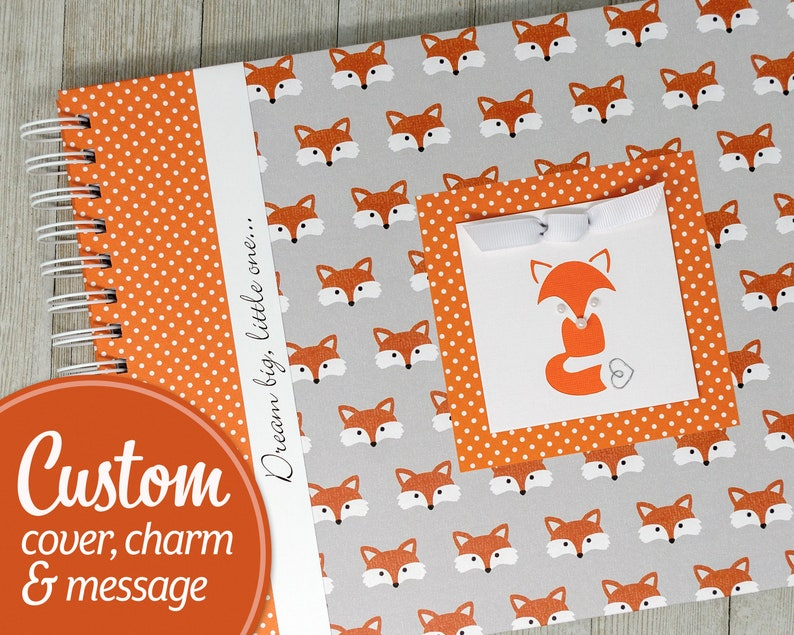 Personalized Baby Book  Fox Baby Memory Book  Gender Neutral image 0