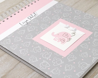 Baby Memory Book (5 Center Designs) - Hard Cover Personalized First Year Baby Book for Girls - Pink Elephants