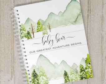 First Year Baby Book - Mountains & Forest Baby Journal - Personalized Baby Memory Book - Baby Boy or Girl - In The Woods