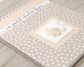 Pregnancy Journal (15 Center Designs) - Hard Cover Personalized Pregnancy Memory Book for Expectant Moms - Pregnancy Gift - Ivory Dots