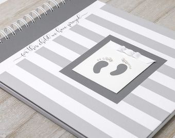 Pregnancy Journal (15 Center Designs) - Hard Cover Personalized Pregnancy Gift - Pregnancy Memory Book - Gift for New Moms - Gray Stripes