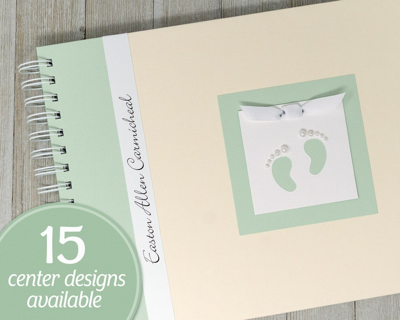 Baby Memory Book  Personalized First Year Baby Book  Cream & image 0