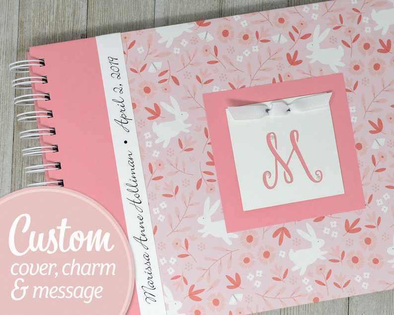 Baby Memory Book  Personalized First Year Baby Book  Girl  image 0