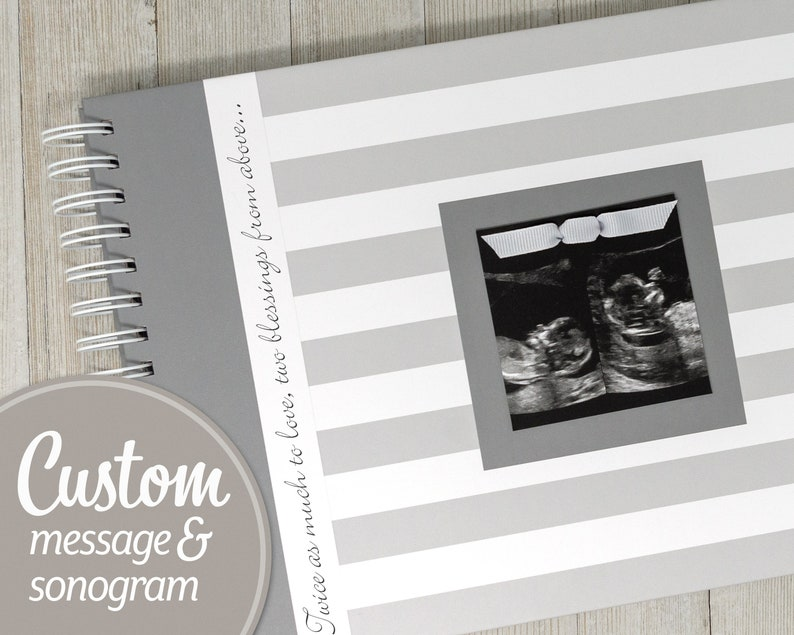 Twin Pregnancy Journal with Your Sonogram on the Cover  image 0