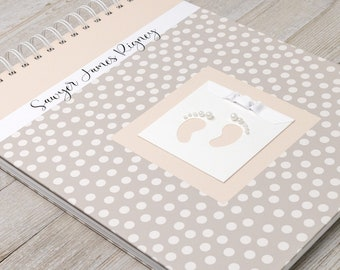 Baby Memory Book (15 Center Designs) - Personalized Hard Cover First Year Baby Book for Girls or Boys - Ivory Dots