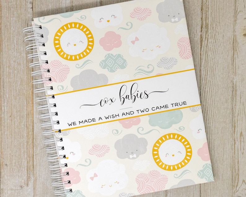 Twin Pregnancy Journal  Hard Cover Personalized Pregnancy image 0