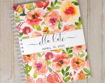 Baby Memory Book for Girls - Personalized First Year Baby Journal - Pink Floral Baby Book Girl - Pink & Red Roses - Watercolor Flowers