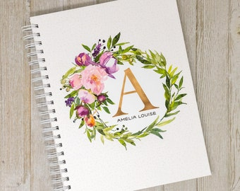 Baby Memory Book for Girls - Personalized First Year Baby Journal - Hard Cover Baby Girl Book - Watercolor Flowers - Floral Wreath Initial