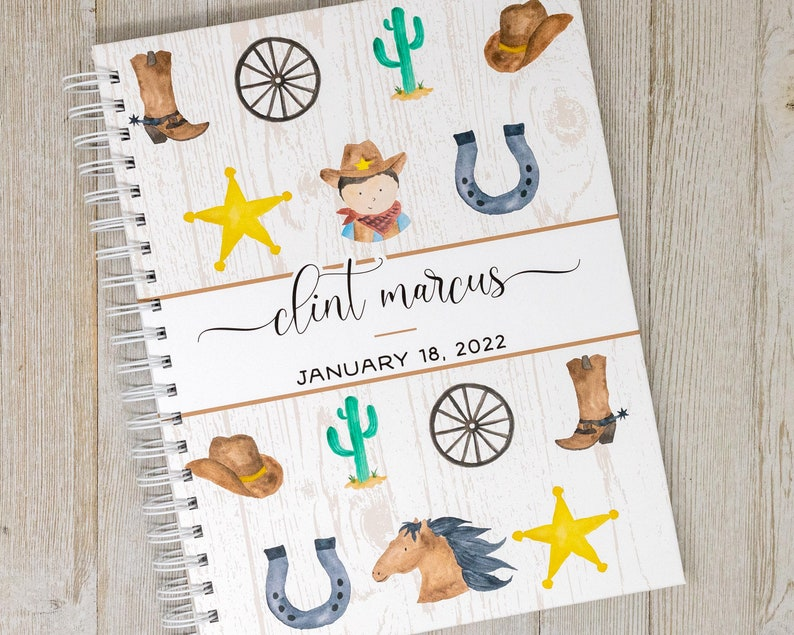 First Year Baby Book  Cowboy Baby Journal  Personalized Baby image 0