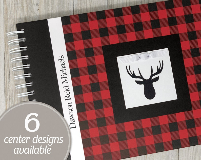 Baby Journal  Buffalo Plaid Baby Keepsake Book  Red & Black image 0