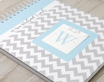Baby Memory Book (15 Center Designs) - Personalized Hard Cover First Year Baby Book - Gray Chevron + Blue