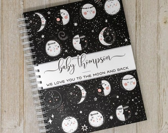 Pregnancy Journal & Memory Book for Expectant Moms - Personalized Hard Cover Keepsake Pregnancy Album - New Mother Gift - Moon Phases