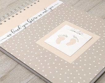 Pregnancy Journal (15 Center Designs) - Hard Cover Personalized Pregnancy Gift - Pregnancy Memory Book - Tiny Hearts in Ivory