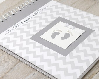 Pregnancy Journal (15 Center Designs) - Memory Book for Expectant Moms - Personalized Pregnancy Album - New Mother Gift - Gray Chevron