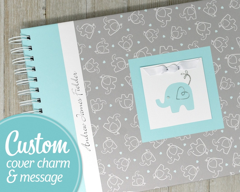 Baby Memory Book  Personalized First Year Baby Book  Blue image 0